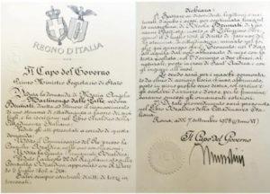 documenti famiglia Brunati - Mussolini