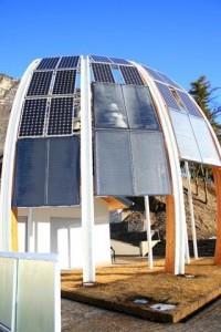 Mezzocorona- particolare disposizione pannelli fotovoltaici e solari su struttura chiamata Vela