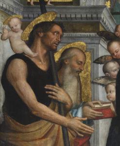 Francesco Verla  Madonna con il bambino in trono tra i santi Cristoforo Gerolamo Sebastiano e Rocco 1517 olio su tela 291x196 cm
