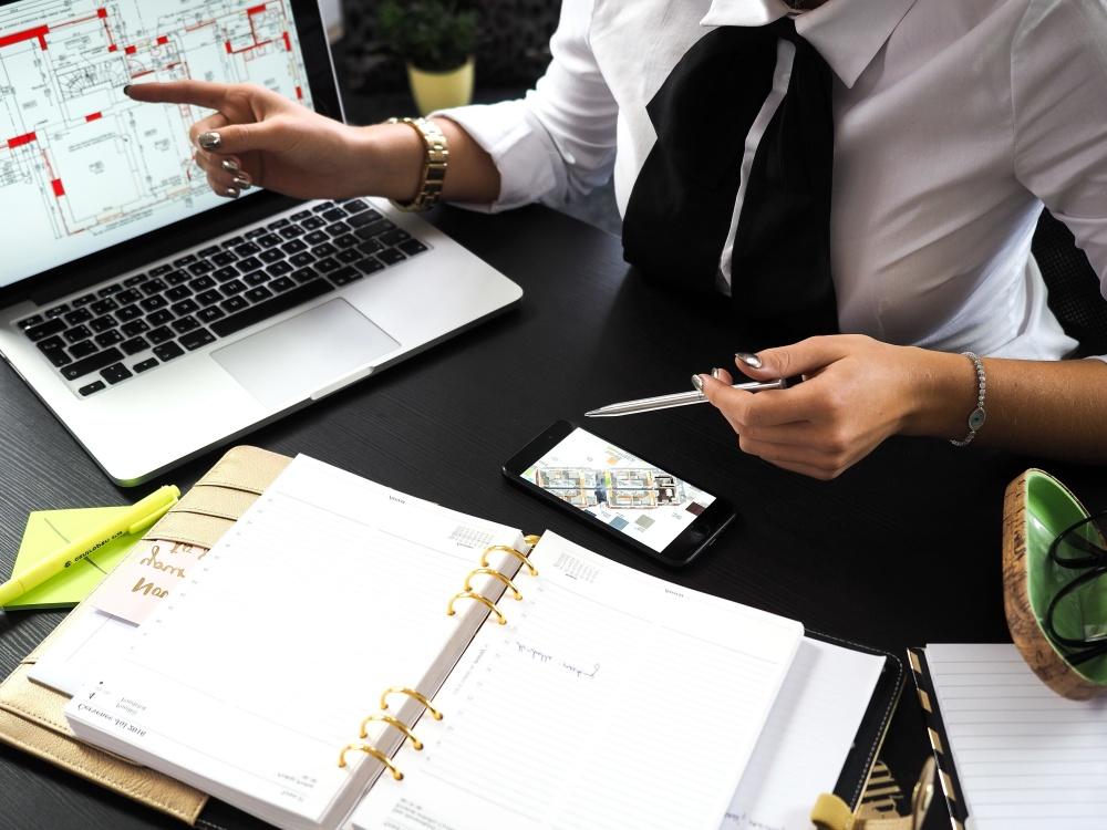 business, woman, laptop, plans