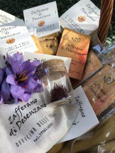cesto con prodotti di Zafferano di Desenzano